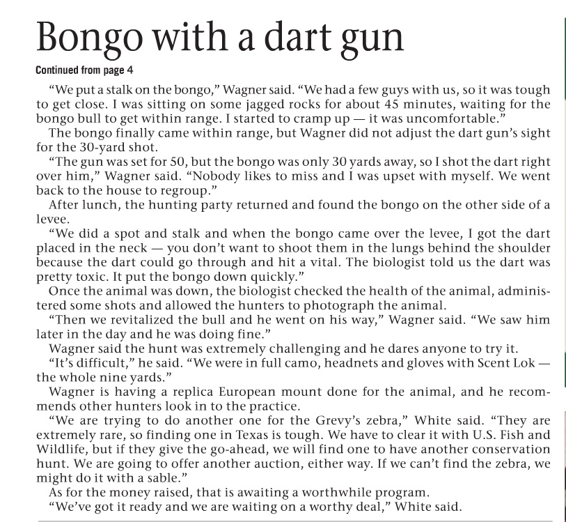 Page 2 - Catch & Release Conservation Bongo Hunt news article published in the LoneStar Outdoor News Volume 11 Issue 20 on June 12, 2015